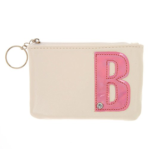 Claire's Girl's White Faux Leather Pink Initial B Coin Purse