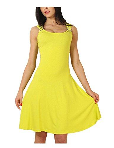 Mujers Swing Vestido Cuello redondo Hebilla Slim-tipo Sin mangas,MeMi'S Yellow