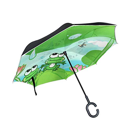 Reverse/Inverted Double-Layer Waterproof Straight Umbrella, Frogs With Dragonflies Self-Standing Carrying Bag for Free Hands C-Shape Handle, Windproof UV Protection,Inside-Out Folding for Car Use