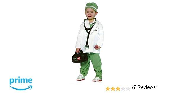 Disfraz de 4 piezas para niños – Medico, Doctor, bata de medico – Blanco, gris – S 116 (3-5 años)
