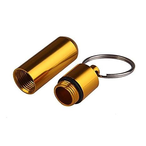botella port/átil de medicamentos 1 mini pastillero de cajas color plateado llavero redondo de aleaci/ón de aluminio llavero contenedor