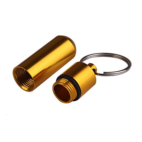 Waterproof Aluminum Alloy Keychain Pill Fob, Portable Pill Holder for Outdoor, 1 Pc (Gold)