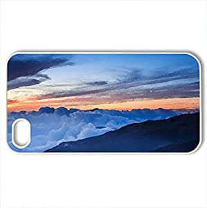 blanket of clouds on mountains at sunset - Case Cover for iPhone 4 and 4s (Sky Series, Watercolor style, White)