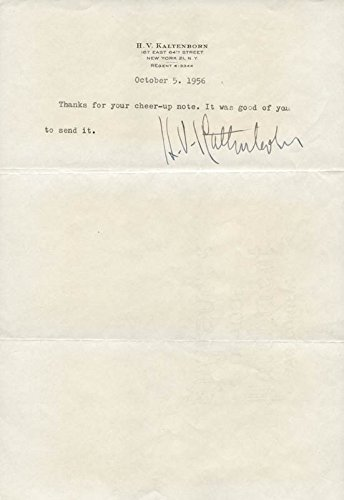H. V. (Hans Von) Kaltenborn – Typed Note Signed 10/05/1956