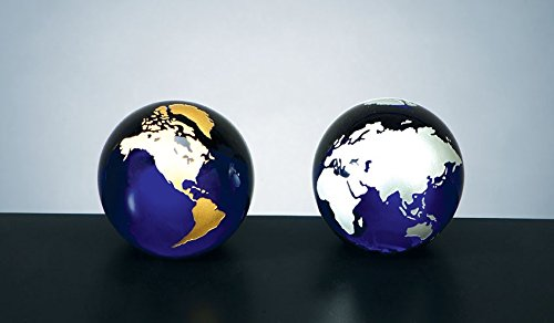 Cobalt Blue Molten Glass World Globe Paperweight with Flat Bottom - Gold Continents