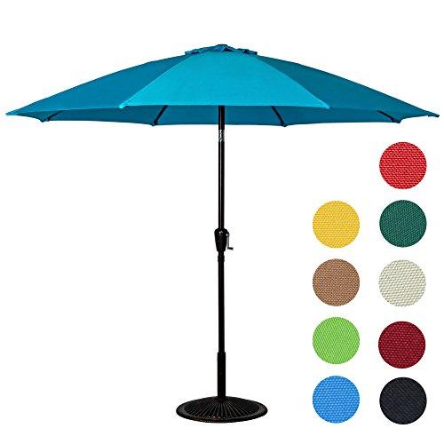 Sundale Outdoor 9 Feet Aluminum Market Umbrella Table Umbrella with Crank and Push Button Tilt for Patio, Garden, Deck, Backyard, Pool, 8 Fiberglass Ribs, 100% Polyester Canopy (Lake Blue) by Sundale Outdoor