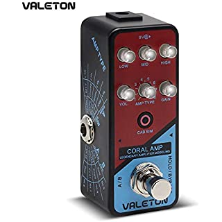 Valeton Amp Modeler Guitar Pedal Coral Amp of 16 Classic And Mainstream Guitar Amp Models From Vintage Blues to Classic Crunch to Modern Hi-Gain Distortion