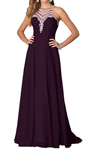 Long Avril Chiffon Rhinestone Illusion Grape Prom Brought Dress Evening Round Dress wzqRw1a