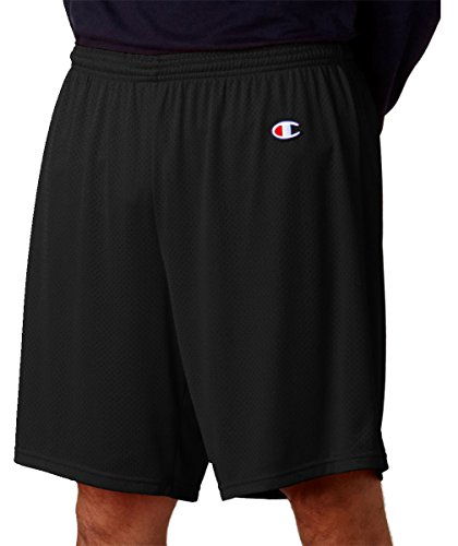 Champion Adult Long Poly Mesh Shorts, Black, Large - Poly Workout Short