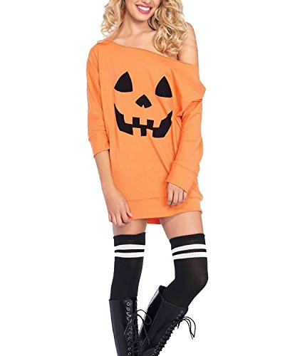 Mini Print Costumes (Kidsform Women Loose One Off Shoulder Long Sleeve Halloween Pumpkin Print Costume Mini Dress Orange L)