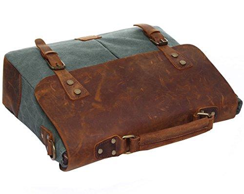 Super moderno hombres lienzo bolsa de hombro maletín Messenger de piel estilo británico retro lienzo Casual Cruz Cuerpo Mensajero Bolsa De Hombro Traval, Caqui Verde ejército