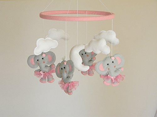(Elephant Baby Crib Mobile, ballerina Cot Mobile, Elephant tutu Nursery Mobile, gray pink nursery decor, pink nursery bedding)
