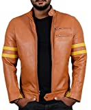 Laverapelle Men's Genuine Lambskin Leather Jacket (Cognic Tan, 5XL, Polyester Lining) - 1501535