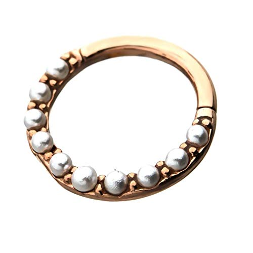 16G Synthetic Pearl Lined Stainless Steel Hinged Segment Ring for Septum, Lip, Eyebrow, and Ear Piercings (Rose Gold Plated)