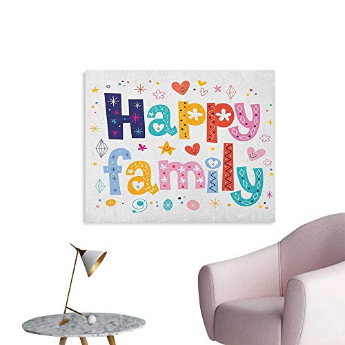 Anzhutwelve Family Photo Wall Paper Happy Family Letters with Flowers Hearts Stars Dots Circles Cartoon Like Artwork Custom Poster Multicolor W36 xL24 - Circles Playboy