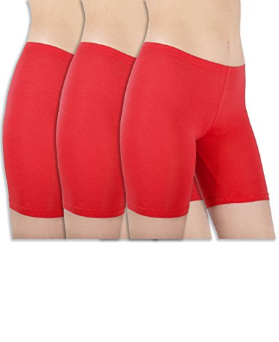 Red Spandex Shorts - Sexy Basics Womens 3 Pack Sheer & Sexy Cotton Spandex Boyshort Yoga Bike Shorts (Medium -6, RED)