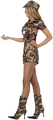 Smiffys Smiffys-28864X1 Disfraz de Mujer Soldado Sexy, Camuflaje, con Mono de Pantalones Cortos, cinturó, Color, XL - EU Tamaño 48-50 28864X1