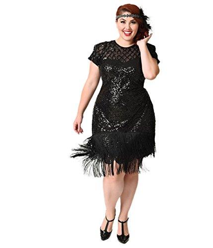 8428f35faa45 Unique Vintage Plus Size 1920s Black Sequin Fringe Del Mar Flapper Dress