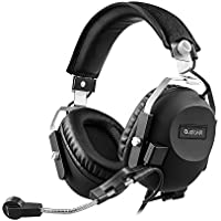 AudioMX Over-Ear Gaming Headphones with Detachable Mic, Surround 7.1 Option and Volume Remote (3.5 mm / RCA / USB Audio Connector)