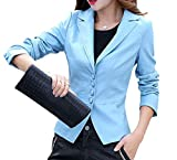X-Future Women's Business Button Front Faux Leather Blazer Coat Jacket one US XS