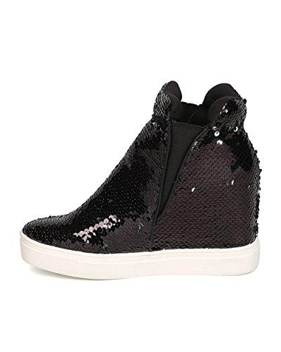 CAPE ROBBIN Women Sequin High Top Hidden Wedge Sneaker GB22 - Black (Size: 11) by CAPE ROBBIN (Image #3)