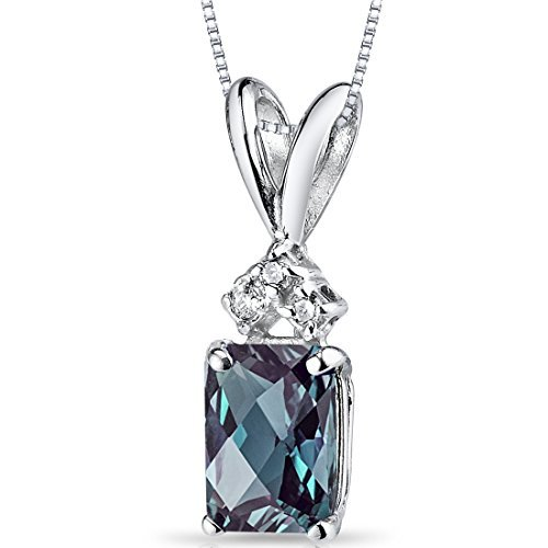 14 Karat White Gold Radiant Cut 1.25 Carats Created Alexandrite Diamond Pendant by Peora