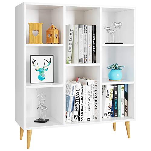 Homfa Estanteria Libros Libreria Pared Mueble Auxiliar Madera Armario Almacenaje para Salon Oficina Dormitorio con 8 Cubos Blanca 80X29.5X93cm
