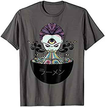 eee25ddfd9d27 Amazon.com: Rainbow Ramen Noodle Anime T-Shirt, Monster Girl Manga ...