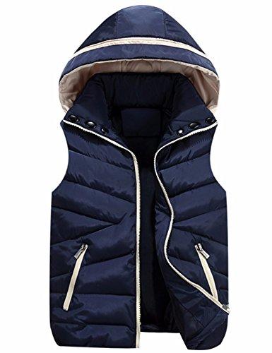 Hooded Neck Sleeveless Cotton EMMA High Blue Gilet Down Jacket Quilt Outwear Zip Dark Padded Women's Vest 0pxxqBI4
