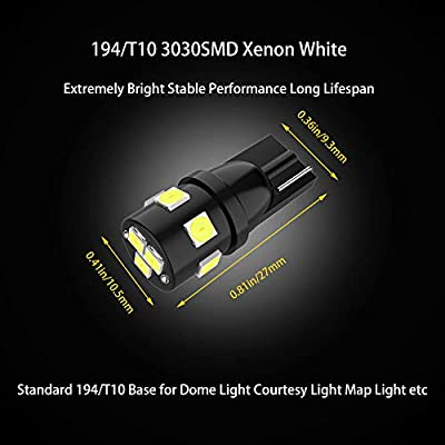 194 LED Bulbs Super Bright T10 Wedge 194 168 2825 W5W 175 LED Bulbs 3030 SMD LED Bulbs for License Plate Lights Interior Map Dome Side Marker Courtesy Cargo Lights, 6000K Xenon White, Pack of 12: Automotive