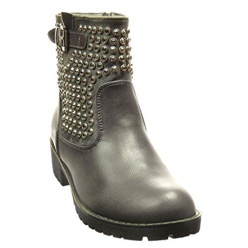 Angkorly - damen Schuhe Stiefeletten - Biker - Hohe - Nieten - besetzt - Schmuck - Schleife Blockabsatz 3.5 CM - Grau