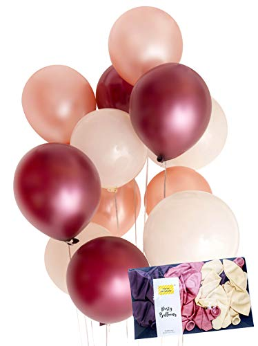Burgundy Rose Gold Cream Latex Party Balloon Decoration 30 x Tough 12 Hen Bridal Wedding Birthday Party Baby Shower Photobooth, Backdrop, Balloon Arch - by TOKYO SATURDAY (Burgundy Rose, 30)