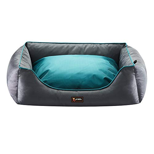 UFbemo Orthopedic Large Dog Bed Lounge Sofa Removable Cover 100% Waterproof | 29.5 inch x 21.6 inch x 9 inch | Sky Blue