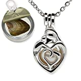 Pearlina Mother Child Silver Tone Cage Cultured Pearl in Oyster Necklace Set w/Stainless Steel Chain 18""