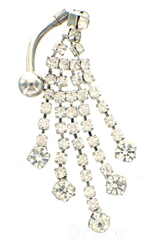 Belly Button Ring Navel Rhinestone Reverse Body Jewelry Dangle 14 Gauge