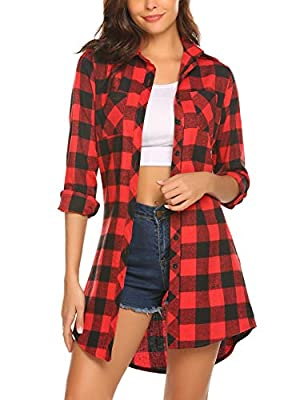 HOTOUCH Women's Red Plaid Loose Casual long Sleeve shirt Blouse Dress,Medium,Red Black, Red Black, Medium
