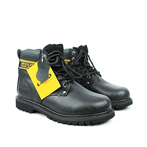 Black Leather Work Boots (Labo Men's Genuine Leather Work Boot 512BLACK-8.5)