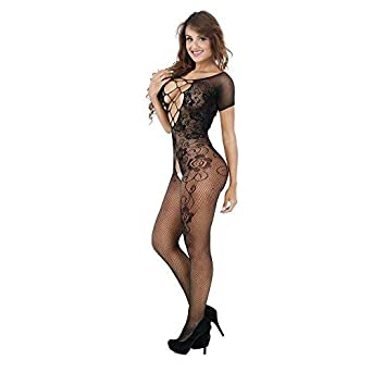 Challen Women Sexy Lingerie for Sex Floral Open Crotch Fishnet Crotchless  Babydoll Halter Sleepwear Mesh Chemise 454f41b1c