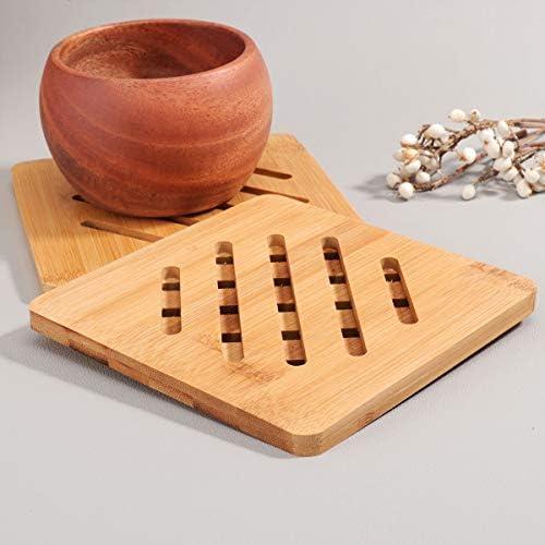 Yardwe 2 STÜCKE Bambusuntersetzer Matte Hitzebeständige Tasse Untersetzer Heißer Topflappen Pads Multifunktionale Küche Werkzeug (Platz)