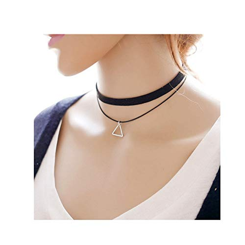 JczR.Y Black Woven Leather Triangle Necklace Choker Geometric Hollow Triangle Pendant Necklace Neck Ring Jewelry Fashion ()