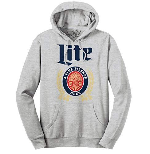 Tee Luv Miller Lite Hoodie - Hooded Miller Lite Beer Sweatshirt (XXX-Large) Athletic Heather