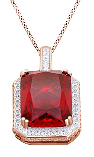 Jewel Zone US Simulated Ruby Iced Out Pendant Necklace in 14k Rose Gold Over Sterling Silver