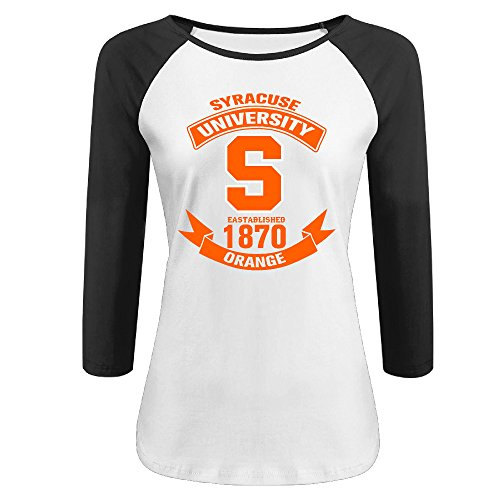 PTCY Syracuse University Women's Athletic Raglan Tee Black XL (Ernie The Elf)