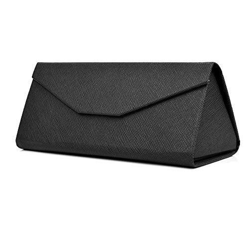 REAL SIC Black Leather Magnetic Folding Hard Case for Sunglasses, Reading Glasses - Convenient Fold Flat Case for Everyday Use (Black) ()