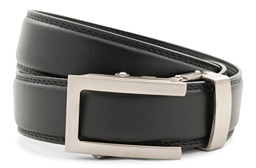 Anson Belt & Buckle - Men's Traditional Silver Buckle with Premium Black Leather Strap