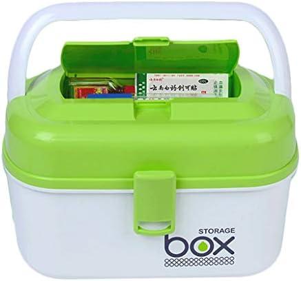 HXF- Pillendose PP 29 * 21.5 * 17,2cm Haushaltsmedizin Box Medizin Aufbewahrungsbox Robust (Color : Green)