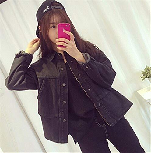 Moda Nero Chiusura Manica Elegante Jacket Casuale Festiva Jeans Primaverile Cerniera A Cappotto Outerwear Giubbino Monocromo Bavero Giovane Di Donna Women Lunga Autunno qZtxxR