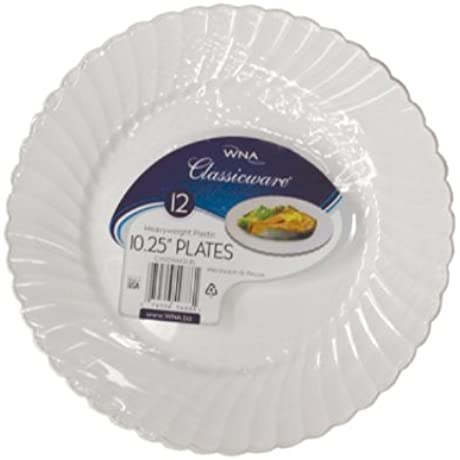 Classicware Dinnerware Shrink Wrapped Plastic Plates 10 25 Inch White 144 Count
