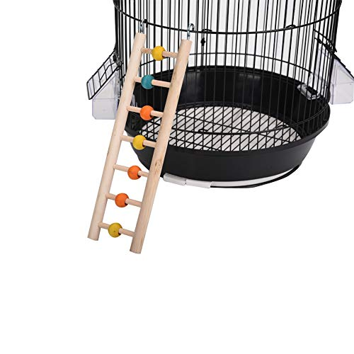 QBLEEV Bird Ladders for Parakeets, Parrot Wooden Ladders Cage Perch Stands with Colorful Beads,