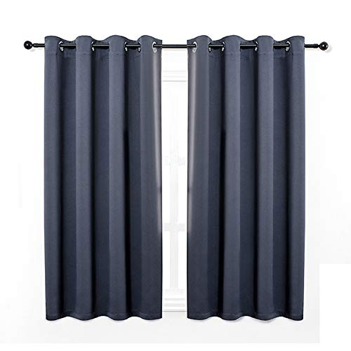 Anjee Eyelet Blackout Thermal Insulated Curtains 2 Panels 66 x 54 inch for Living Room/Bedroom/Nursery with 2 Matching Tie Backs Navy Blue